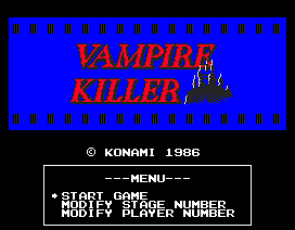 Image result for Vampire Killer MSX title screen