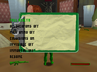 Army Men Sarge's Heroes 2 N64 Cheat Menu.png