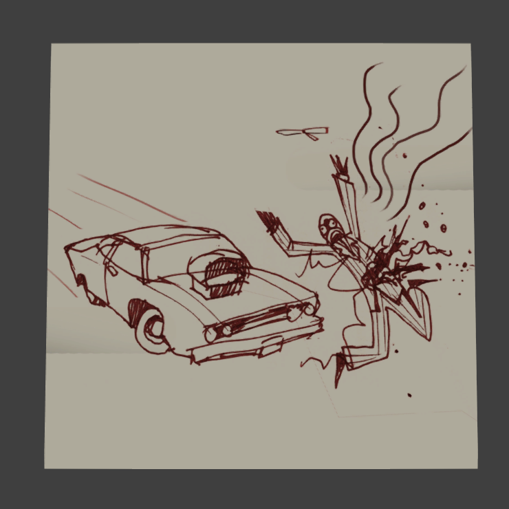 the first request is from genji he has ... drawn a picture of me getting hit by a car