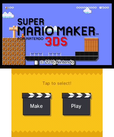 Super Mario Maker for Nintendo 3DS - The Cutting Room Floor