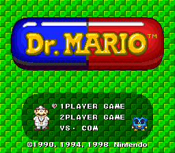 NP and BS-X Dr. Mario title screens.