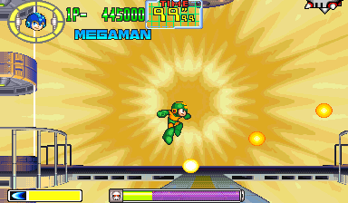 Mega Man jumping to avoid 3 small yellow energy balls