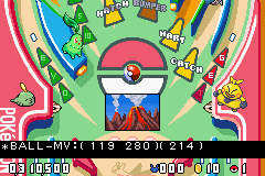 Pokemon Pinball Ruby and Sapphire Debug Mode.png