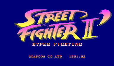 "US version also adds Capcom USA copyright, in case you don't know. Oh, and the white parts of the word ""Hyper Fighting"" actually flashes between white and cyan."