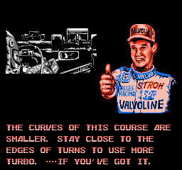 Al Unser Jr. Turbo Racing - NES - Advice.png