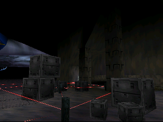 Crates protected by lasers emitted from other crates.