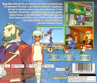 The back of the Mega Man Legends 2 CD case featured this strange city that would not be seen in the game.