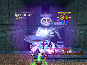 An orb switch warp effect used for the castle themed levels.