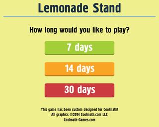 Title Screen. Lemonade Stand. Developer: Coolmath Games